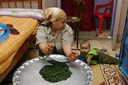 (MODEL RELEASED IMAGE). Nadia Ahmed watches her daughter Nancy, 8 months, crawl on the floor of Nadia's fourth-floor apartment as she chops spinach for dinner. Islamic Cairo, Egypt. (Supporting image from the project Hungry Planet: What the World Eats.)