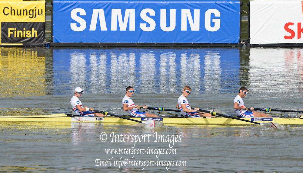 Chungju, South Korea. GBR LM4-  winning the Bronze medal and presentation of the medal at the 2013 World Rowing Championships, Tangeum Lake, International Regatta Course.  Sunday  01/09/2013 [Mandatory Credit. Peter Spurrier/Intersport Images]