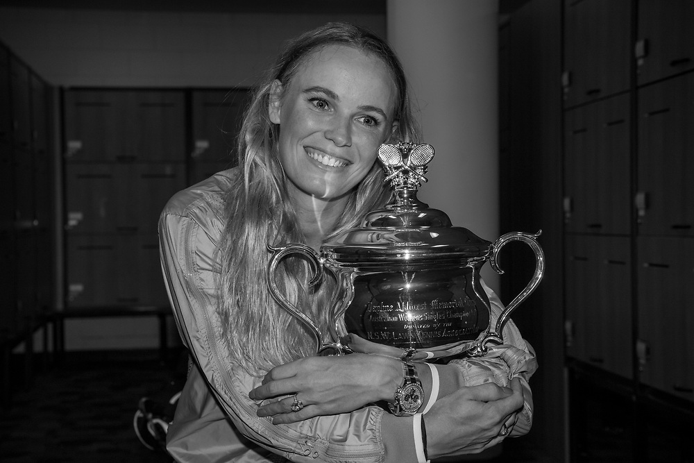 Caroline Wozniacki of Denmark after winning the women's singles championship match during the 2018 Australian Open on day 13 in Melbourne, Australia on Saturday afternoon January 27, 2018.<br /> (Ben Solomon/Tennis Australia)