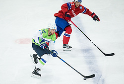 Robert Sabolic of Slovenia vs Henrik Odegaard of Norway during the 2017 IIHF Men's World Championship group B Ice hockey match between National Teams of Slovenia and Norway, on May 9, 2017 in Accorhotels Arena in Paris, France. Photo by Vid Ponikvar / Sportida