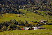 Farmland near Hopperstad Stave Church near Vik, Norway.