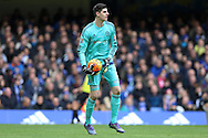 Goalkeeper Thibaut Courtois of Chelsea looks on. Barclays Premier league match, Chelsea v Stoke city at Stamford Bridge in London on Saturday 5th March 2016.<br /> pic by John Patrick Fletcher, Andrew Orchard sports photography.