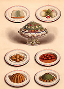 Vegetable dishes as they should be served. Chromolithograph from 'Cassell's Book of the Household' (London, c1895).