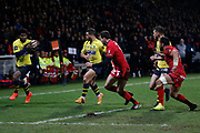 Seru Noa Nakaitaci of Clermont and Luke Mcalister of Clermont Jean Marcellin Buttin of Lyon and Rudolffe Rudy Wulf of Lyon during the French championship Top 14 Rugby Union match between Lyon OU and Clermont on February 17, 2018 at Groupama stadium in Lyon, France - Photo Romain Biard / Isports / ProSportsImages / DPPI