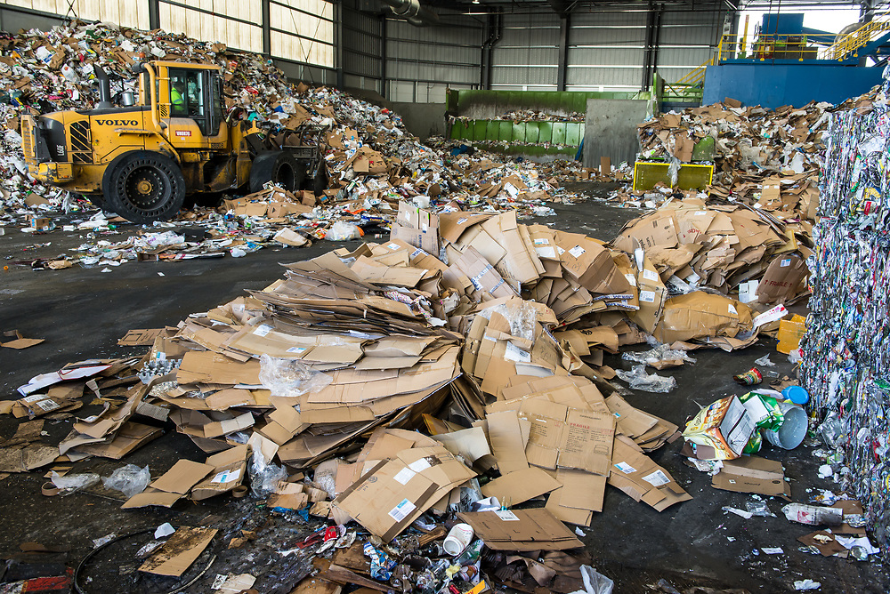 Recently delivered load of commercial recyclables awaiting sorting. Cardboard boxes are a primary component of recyclables collected at businesses.