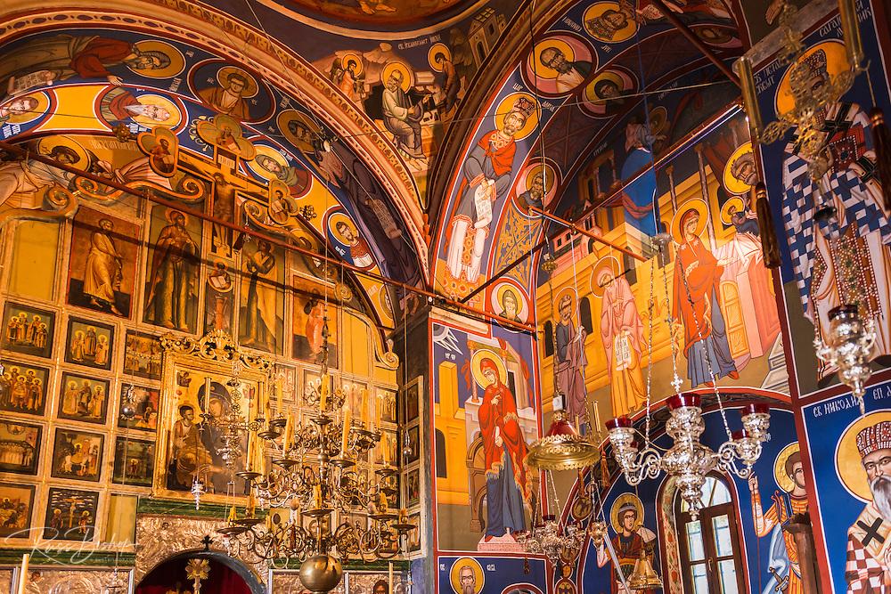 Frescos in the abbey chapel, Krka Monastery, Krka National Park, Dalmatia, Croatia