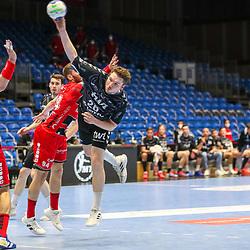 Handball, 31. Spieltag: MT Melsungen vs Die Eulen Ludwigshafen am 27.05.2021 in der Rothenbach-Halle in Kassel<br /> <br /> <br /> Dominik Mappes (Ludwigshafen 25) gegen Domagoj Pavlovic (Melsungen 94) und Felix Danner (Melsungen 17)  beim Spiel in der Handball Bundesliga, MT Melsungen - Die Eulen Ludwigshafen.<br /> <br /> Foto © PIX-Sportfotos *** Foto ist honorarpflichtig! *** Auf Anfrage in hoeherer Qualitaet/Aufloesung. Belegexemplar erbeten. Veroeffentlichung ausschliesslich fuer journalistisch-publizistische Zwecke. For editorial use only.