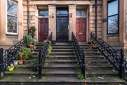 Ornate stairs leading to beautiful apartment buildings on Queens Drive in Queens Park district of Glasgow, Scotland, United Kingdom