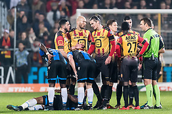 Seth de Witte of KV Mechelen (M) gets a red card from referee Nicolas Laforge during the Jupiler Pro League match between KV Mechelen and Club Brugge on December 20, 2017 at the AFAS stadium in Mechelen, Belgium.