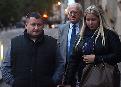 © Licensed to London News Pictures.02/13/2013. London, UK. James Henegan (L) and Cheralee Armstrong witnesses of Lee Rigby's death leave the Old Bailey, London after took part of the trial of Michael Adebowale, 22 and Michael Adebolajo, 28 are charged with murdering Fusilier Lee Rigby as he walked back to Woolwich Barracks in south-east London on May 22.Photo credit : Peter Kollanyi/LNP