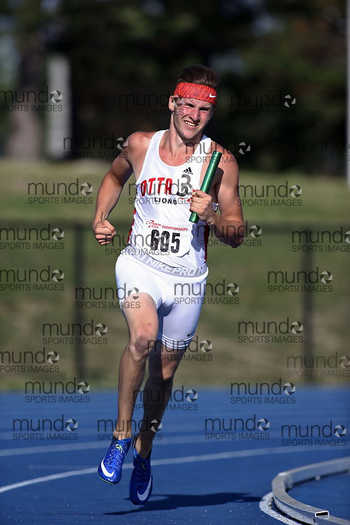 (Brampton, Canada---30 July 2017)  Noah  Regnier of Ottawa Lions T.F.C. M competing in the 4x400m relay at the 2017 Athletics Ontario Bantam, Midget, Youth Championships held at the Terry Fox Stadium in Brampton, Ontario. (Photo by Sean Burges / Mundo Sport Images)