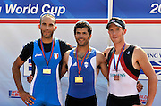 Banyoles, SPAIN, Lightweight Men's medal winners left, ITA LM1X, Silver medalist, Lorenzo BERTINI, Gold medalist GRE LM1X, , Vasilieios POLYMEROS, and GBR LM1X, Bronze Medalist Adam FREEMAN-PASK.  FISA World Cup Rd 1. Lake Banyoles  Saturday, 30/05/2009  [Mandatory Credit. Peter Spurrier/Intersport Images]