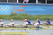 Eton Dorney, Windsor, Great Britain,..2012 London Olympic Regatta, Dorney Lake. Eton Rowing Centre, Berkshire[ Rowing]...Women's Quadruple Final, UKR W4X , GER W4X and USA W4X.      Dorney Lake...12:16:40  Wednesday  01/08/2012..[Mandatory Credit: Peter Spurrier/Intersport Images].
