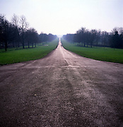 View south along the Long Walk on a winter day, Windsor Great Park, Windsor, Berkshire, England
