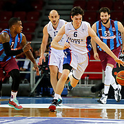 Anadolu Efes's Cedi Osman (R) and Trabzonspor's Dwight Hardy (L) during their Turkish Basketball League Play Off Semi Final round 1 match Anadolu Efes between Trabzonspor at Abdi Ipekci Arena in Istanbul Turkey on Friday 29 May 2015. Photo by Aykut AKICI/TURKPIX