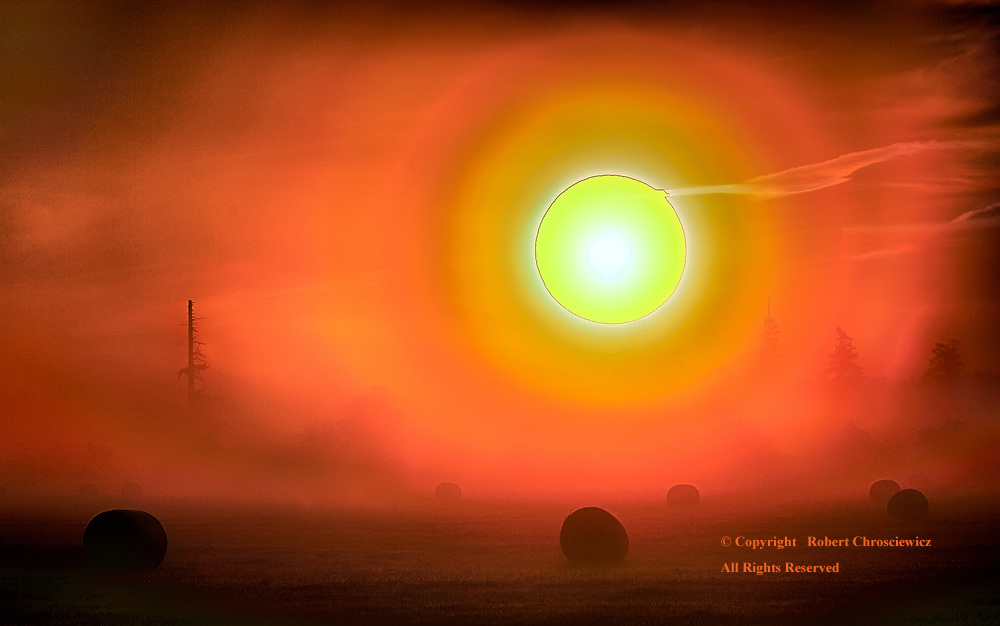 Surrealistic Fog:  The sun displays as a ball of fire and dominates this surrealistic scene, as it attempts to break through the thick morning fog that engulfs a newly harvested hay field, Surrey British Columbia Canada.
