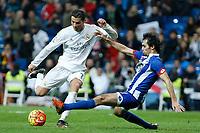 Real Madrid´s Cristiano Ronaldo and Deportivo de la Coruna´s Arribas during 2015/16 La Liga match between Real Madrid and Deportivo de la Coruna at Santiago Bernabeu stadium in Madrid, Spain. January 09, 2015. (ALTERPHOTOS/Victor Blanco)