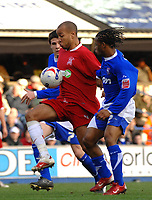 Photo: Ashley Pickering.<br />Ipswich Town v Southend United. Coca Cola Championship. 10/03/2007.<br />Lewis Hunt of Southend (red) wins the ball from Jaime Peters of Ipswich (R)
