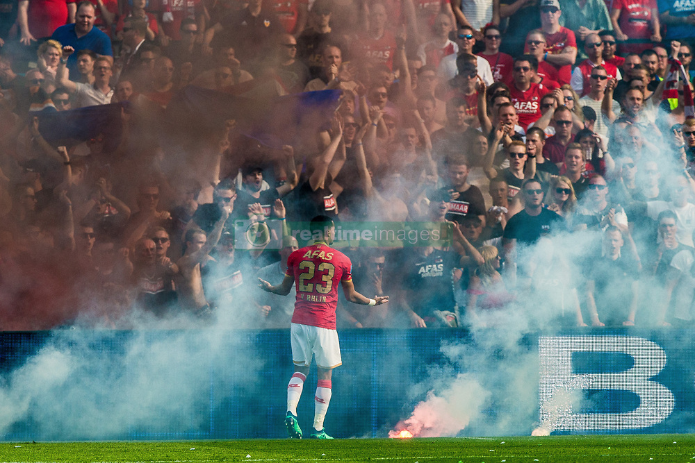 Ricardo van Rhijn of AZ, fireworks during the Dutch Toto KNVB Cup Final match between AZ Alkmaar and Feyenoord on April 22, 2018 at the Kuip stadium in Rotterdam, The Netherlands.