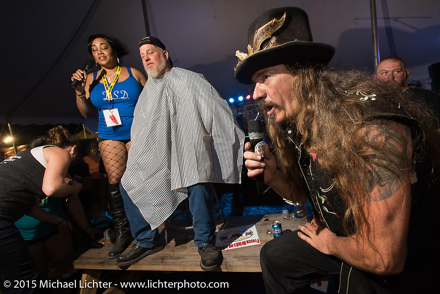 "Bean're MC's the Chop-In Blocks ""Biker Beard-Off"" to benefit the Aidan Jack Seeger foundation for ALD at the Cackleberry Campground during Daytona Beach Bike Week, FL, USA. Thursday, March 12, 2015.  Photography ©2015 Michael Lichter."