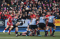 Rugby Union - 2017 / 2018 Guinness Pro14 - Cardiff Blues vs. Scarlets<br /> <br /> Tomos Williams of Cardiff kicks to clear, at Cardiff Arms Park.<br /> <br /> COLORSPORT/WINSTON BYNORTH