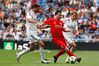 Real Madrid´s Michel Salgado (R) and Liverpool´s Fowler during 2015 Corazon Classic Match between Real Madrid Leyendas and Liverpool Legends at Santiago Bernabeu stadium in Madrid, Spain. June 14, 2015. (ALTERPHOTOS/Victor Blanco)
