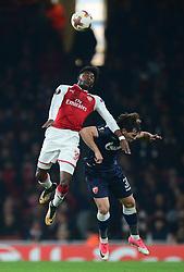 Ainsley Maitland-Niles of Arsenal wins a high ball. - Mandatory by-line: Alex James/JMP - 02/11/2017 - FOOTBALL - Emirates Stadium - London, England - Arsenal v Red Star Belgrade - UEFA Europa League Group H