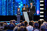 Brussels , 01/02/2020 : Les Magritte du Cinema . The Academie Andre Delvaux and the RTBF, producer and TV channel , present the 10th Ceremony of the Magritte Awards at the Square in Brussels . <br /> Pix : Olivier Masset-Depasse; Sacha Pirlet , dressed by JBC , Zara and Veja; Guillaume Senez; Jacques-Henri Bronckart<br /> Credit : Daina Le Lardic / Isopix