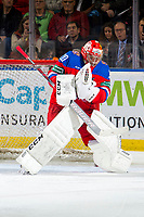 KELOWNA, BC - DECEMBER 18: Petr Kochetkov #20 of Team Russia makes a save against Team Sweden at Prospera Place on December 18, 2018 in Kelowna, Canada. (Photo by Marissa Baecker/Getty Images)***Local Caption***