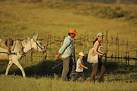 Family home from work in the fields. Lake Prespa National Park, Albania June 2009