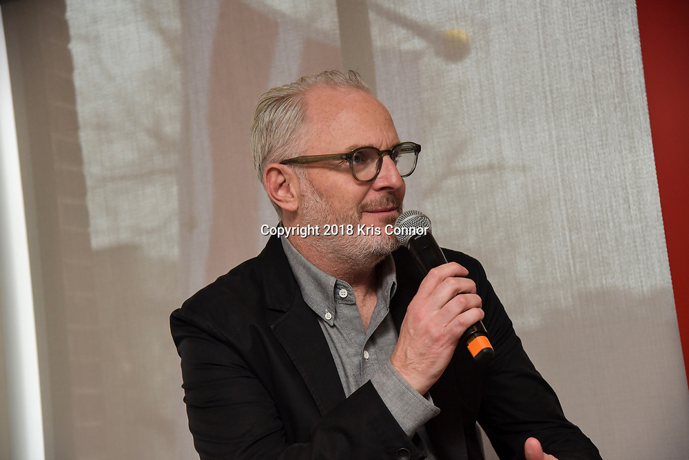 """Director Francis Lawrence of 20th Century Fox's new movie """"Red Sparrow,"""" speaks with moderator NPR's Elizabeth Blair during a luncheon at Cafe Milano in Washington DC on February 16th, 2018. (Photo by Kris Connor for 20th Century Fox)"""