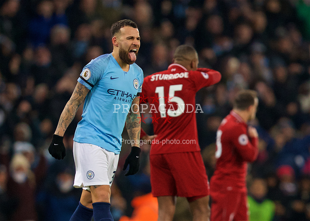 MANCHESTER, ENGLAND - Thursday, January 3, 2019: Manchester City's Danilo Luiz da Silva celebrates the 2-1 victory over Liverpool at the final whistle after the FA Premier League match between Manchester City FC and Liverpool FC at the Etihad Stadium. (Pic by David Rawcliffe/Propaganda)