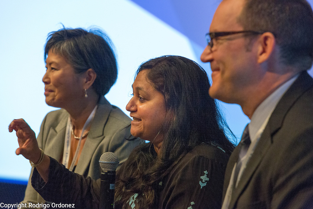 Renuka Gadde, Vice President of Global Health for Becton Dickinson (center), speaks about private sector initiatives to fight the co-epidemic at the global summit on diabetes and tuberculosis in Bali, Indonesia, on November 2, 2015.<br /> The increasing interaction of TB and diabetes is projected to become a major public health issue.The summit gathered a hundred public health officials, leading researchers, civil society representatives and business and technology leaders, who committed to take action to stop this double threat. (Photo: Rodrigo Ordonez for The Union)