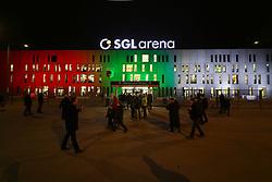 04.12.2013, SGL Arena, Augsburg, GER, DFB Pokal, FC Augsburg vs Bayern München, Achtelfinale, im Bild SGL-Arena beleuchtet, den Vereinsfarben Rot-Gruen-Weiss, // during German DFP Pokal round of last sixteen match between FC Augsburg and Bayern München at the SGL Arena in Augsburg, Germany on 2013/12/04. EXPA Pictures © 2013, PhotoCredit: EXPA/ Eibner-Pressefoto/ Krieger<br /> <br /> *****ATTENTION - OUT of GER*****