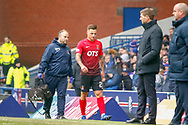 Eamonn Brophy of Kilmarnock is an early casualty and is substituted during the Ladbrokes Scottish Premiership match between Rangers and Kilmarnock at Ibrox, Glasgow, Scotland on 16 March 2019.