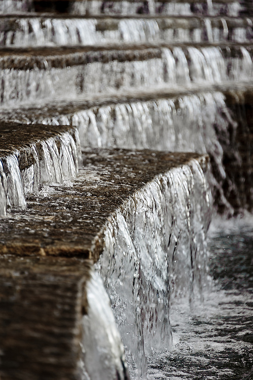Stock photograph of the fountain and waterfall outside of the Ministry of Finance Building in Putrajaya, Malaysia.