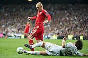 Champions League semi final second leg soccer match between Real Madrid and FC Bayern Munich at the Santiago Bernabeu stadium in Spain - <br /> MADRID 25/04/2012<br /> ESTADIO SANTIAGO BERNABEU.<br /> half final, Halbfinale, Semifinale,  CHAMPIONS LEAGUE<br /> REAL MADRID 2 - BAYERN 1<br /> picture: ROBBEN. MARCELO.- fee liable image, copyright © ATP QUEEN INTERNACIONAL<br /> <br /> Real MADRID vs Fc BAYERN Match 2:1 und 3:1 im Elfmeterschieflen - and 3:1 in penalty shooting - Queen photographer Fernando ALVAREZ