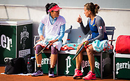 Su-Wei Hsieh of Chinese Taipeh and Barbora Strycova of the Czech Republic playing doubles at the Roland Garros 2020, Grand Slam tennis tournament, on October 1, 2020 at Roland Garros stadium in Paris, France - Photo Rob Prange / Spain ProSportsImages / DPPI / ProSportsImages / DPPI