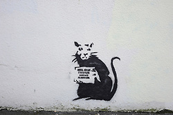 "© Licensed to London News Pictures. 31/10/2015. Folkestone, UK. A new artwork by the artist BANKSY, next to the location of a BANKSY piece that was removed. The Artwork pokes fun at the removal of the last piece which was called ""Art Buff"", which was of an old lady, and says ""IF FOUND PLEASE CONTACT ALASTAIR. Alastair Upton is the Chief Executive of the Creative Foundation who as called for the picture to be returned to the town. Photo credit:Grant Falvey/LNP"