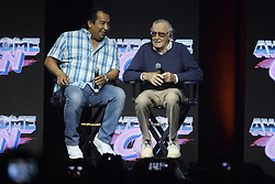June 18, 2017 - Washington, District of Columbia, U.S - Stan Lee, of Marvel Comics fame, speaking during a Q&A session at Awesome Con 2017.  Sitting next to him, moderating the session, is a man that Stan introduced as Max. (Credit Image: © Evan Golub via ZUMA Wire)