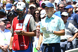 June 24, 2017 - Cromwell, Connecticut, U.S - Jordan Spieth and caddy Michael Greller on the first tee prior to the third round of the Travelers Championship at TPC River Highlands in Cromwell, Connecticut. (Credit Image: © Brian Ciancio via ZUMA Wire)