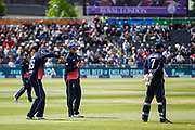 Joe Root (L) Jason Roy and Sam Billings of England share a joke during the One Day International match between England and Ireland at the Brightside County Ground, Bristol, United Kingdom on 5 May 2017. Photo by Andrew Lewis.