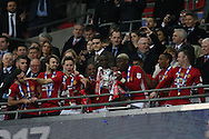 Paul Pogba of Manchester Utd lifts the trophy after the 3-2 win. EFL Cup Final 2017, Manchester Utd v Southampton at Wembley Stadium in London on Sunday 26th February 2017. pic by Andrew Orchard, Andrew Orchard sports photography.