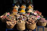 Morocco, Marrakesh. Shop with spices and moroccan natural cosmetics.