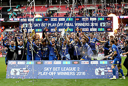 AFC Wimbledon celebrate winning promotion to Sky Bet League One after winning the League Two Playoff Final - Mandatory by-line: Robbie Stephenson/JMP - 30/05/2016 - FOOTBALL - Wembley Stadium - London, England - AFC Wimbledon v Plymouth Argyle - Sky Bet League Two Play-off Final
