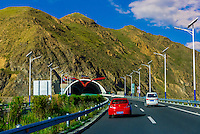 Tunnel on highway, near Lhasa, Tibet (Xizang), China.