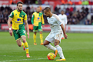 Swansea's Wayne Routledge (r) takes on Norwich's Ivo Pinto. Barclays Premier league match, Swansea city v Norwich city at the Liberty Stadium in Swansea, South Wales on Saturday 5th March 2016.<br /> pic by  Carl Robertson, Andrew Orchard sports photography.