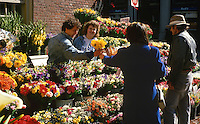 Flower stall, downtown, Boston, Massachusetts, USA, 19880505BFS..Copyright Image from Victor Patterson, 54 Dorchester Park, Belfast, UK, BT9 6RJ..Tel: +44 28 9066 1296.Mob: +44 7802 353836.Voicemail +44 20 8816 7153.Skype: victorpattersonbelfast.Email: victorpatterson@me.com.Email: victorpatterson@ireland.com (back-up)..IMPORTANT: If you wish to use this image or any other of my images please go to www.victorpatterson.com and click on the Terms & Conditions. Then contact me by email or phone with the reference number(s) of the image(s) concerned.
