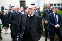 Retired footballer George Eastham arrives at the funeral service for Gordon Banks at Stoke Minster.