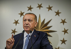 Turkey's President and leader of ruling Justice and Development Party Recep Tayyip Erdogan delivers a statement on national television from his official residence in Istanbul, late Sunday, June 24, 2018. Erdogan has claimed victory in critical elections based on unofficial results, securing an executive presidency with sweeping powers. Photo by Depo Photos/ABACAPRESS.COM